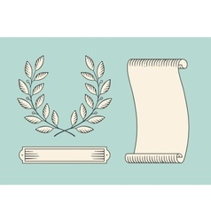 Set of old vintage ribbon banner and laurel wreath vector
