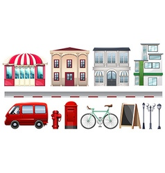 Set of stores and transportations vector