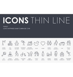 Family thin line icons vector