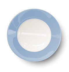 Empty light blue plate with reflections isolated o vector