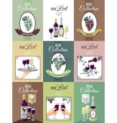 Set Of Wine Menu Poster vector image