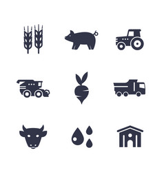 agriculture farming icons isolated on white vector image vector image