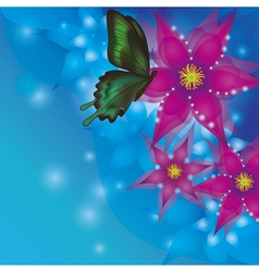 Background with exotic flowers and butterfly vector image vector image