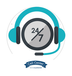 Call center headset 24 hours 7 day always vector