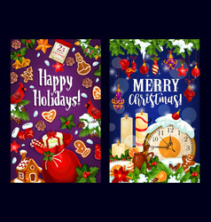 Christmas card of new year midnight clock and gift vector