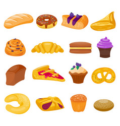 Cookie cakes isolated set vector