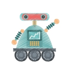 Drawing robot android automation icon vector