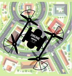 Drone with city below top view town with camera vector
