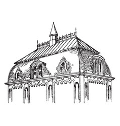 French roof upper vintage engraving vector