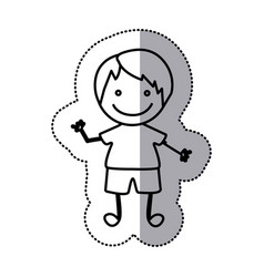 hand drawn sticker silhouette with boy vector image vector image