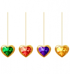 hearts with gems vector image