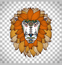 lion head logo in boho style vector image vector image