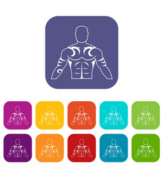 Muscular man with tattoo icons set flat vector