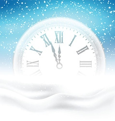 New year clock in snow 1609 vector