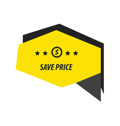 Origami label black yellow vector