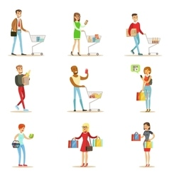 People Shopping In Department Store And Shopping vector image vector image