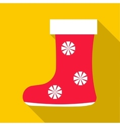 Red felt boots icon flat style vector