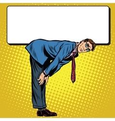 Retro businessman bent under the billboard vector