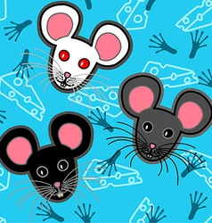 Seamless mice pattern over blue vector