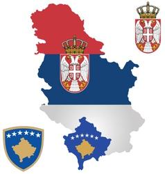 Serbia and kosovo flag vector