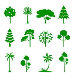 Set of green tree icons vector