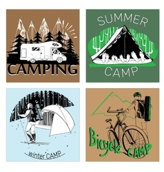 Set of retro vintage camp labels and logo graphics vector