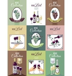 Set Of Wine Menu Poster vector image