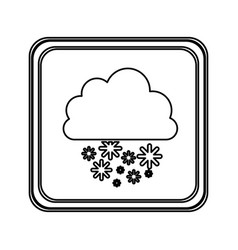 silhouette emblem cloud snowing icon vector image