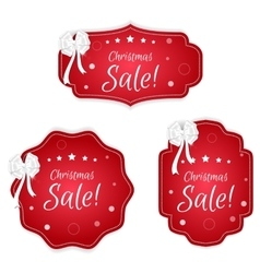Set of three festive christmas coupon labels red vector