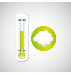 Weather forecast cloud thermometer green icon vector