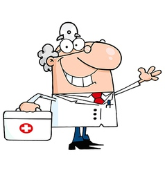 Waving caucasian male doctor with a first aid kit vector