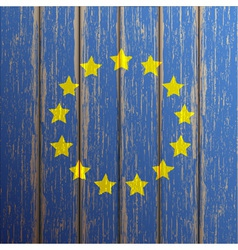 Euro flag painted on old wooden background vector image