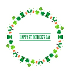 Happy st patricks day flat design round frame vector