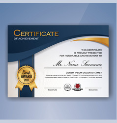 Blue and white elegant certificate of achievement vector