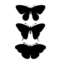 Set of black silhouettes of butterflies vector