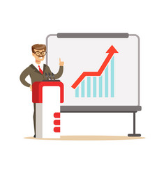Smiling businessman giving a presentation and vector