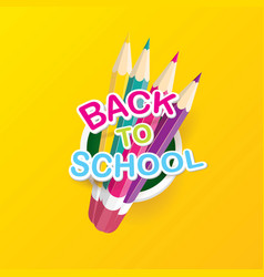 back to school label with text and pencil vector image