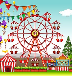 Ferris wheel at the amusement park vector