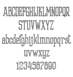 Retro font alphabet and numbers in sketch style vector
