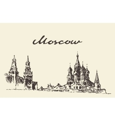 Moscow russia red square kremlin drawn sketch vector