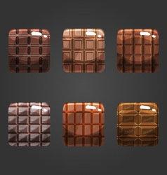 Set of shiny chocolate square button vector