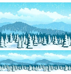 Picturesque forest in winter vector