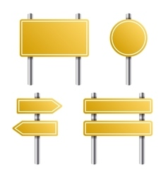 Yellow road sign set on white background vector