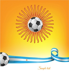 argentina flag with soccer ball on background vector image vector image