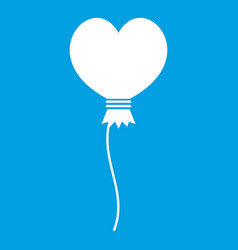 Balloon in the shape of heart icon white vector