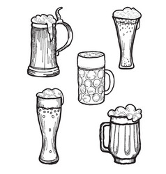 beer ware set beer mug and beer glass silhouette vector image vector image