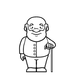 Black and white old man holding a cane vector image