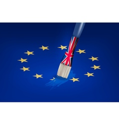 Brexit concept UK brush painting over a EU star vector image vector image