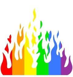Burn flame fire rainbow colors vector