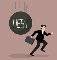 Businessman run away from heavy debt vector image vector image